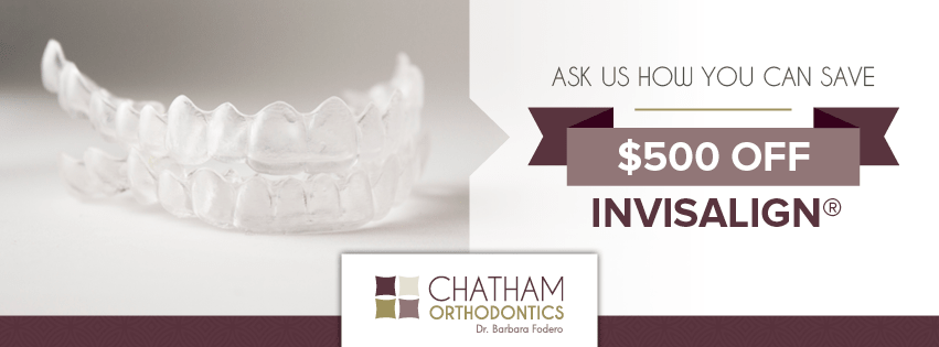 Ad for Invisalign special offered at Chatham Orthodontics - Save $500 off Invisalign. Call us for more details