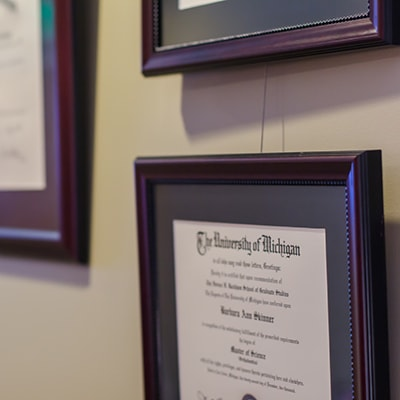 Photos of Dr. Fodero's orthodontics' certificate