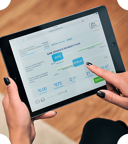 iPad representing OrthoFi's in-office financing program